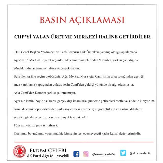 Milletvekili Çelebi, CHP Genel Başkanı Öztrak ın iddialarını yalanladı